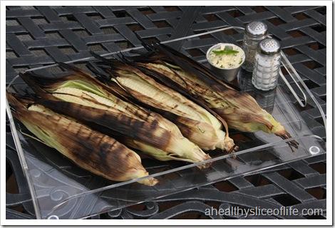 grilled corn, basil butter, salt and pepper