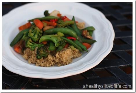 vegetable teriyaki and quinoa