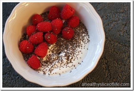 chobani, raspberries and chia seeds
