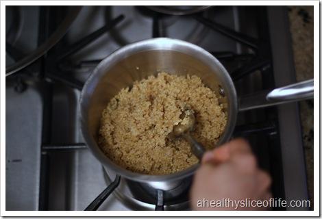 fluffing quinoa