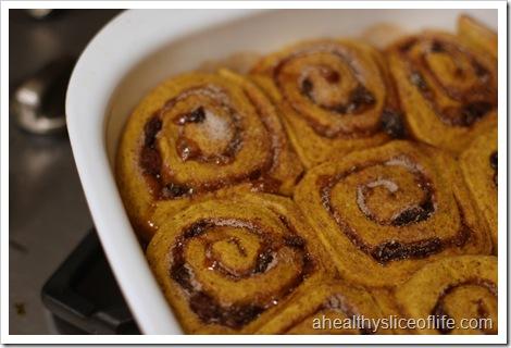 pumpkin raison cinnamon roll out of oven