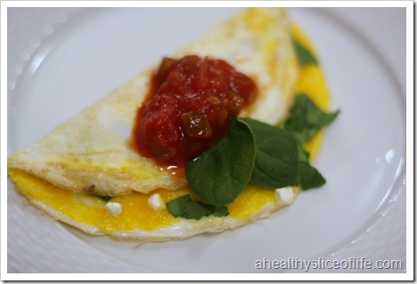 2 egg omelet with spinach and feta