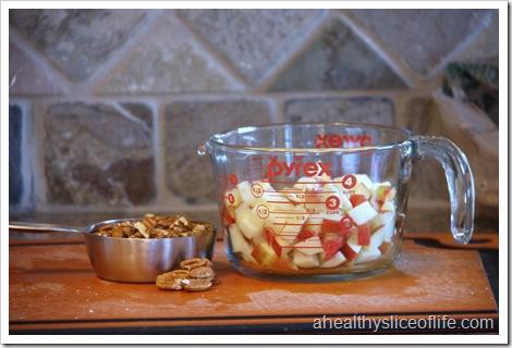 Vegan Apple Pecan Cake - chopped apples and pecans