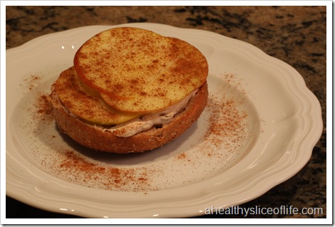 bagel with cinnamon pecan cream cheese