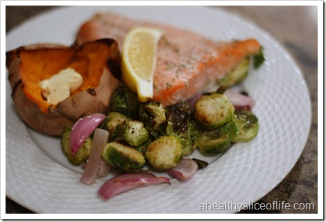 roasted salmon and brussel sprouts with sweet potato