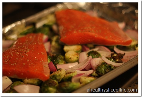 salmon and brussel sprouts pre roasting