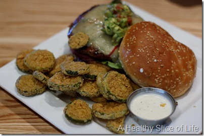 The Cowfish Bison burger with fried pickles