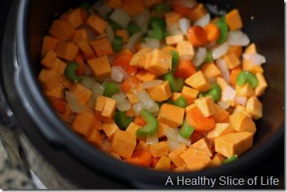 Vegetable Lentil Stoup in Pressure Cooker - all veggie saute