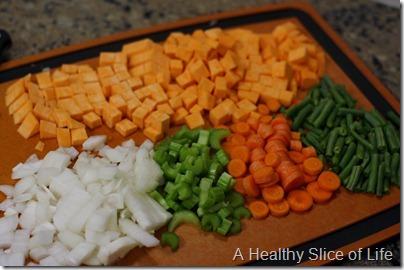 Vegetable Lentil Stoup in Pressure Cooker - chopped vegetable