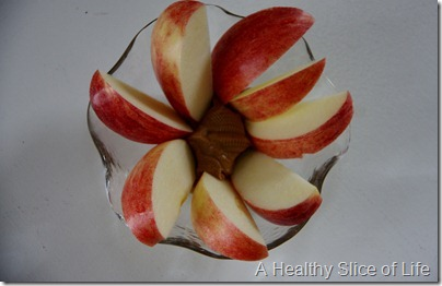 apple flower with peanut butter