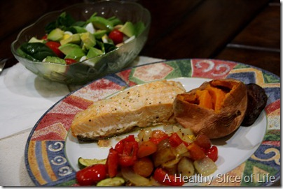salmon and veggie dinner
