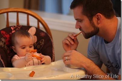 baby led solids demonstrating sweet potato