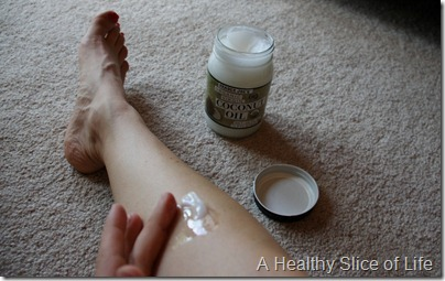 Trader Joe's Organic Virgin coconut oil- melting on leg