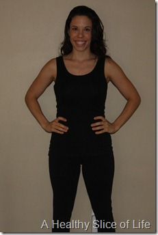 9 month postpartum body- front view