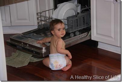 Hailey 10 months- dishwasher caught