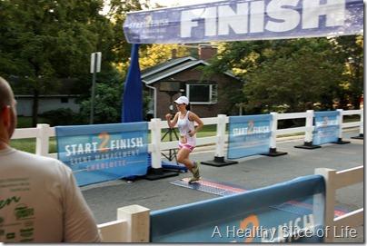 Davidson Run for the Green 10k 2012- crossing the finish