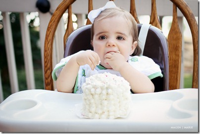 Magen Marie Photography- Hailey's 1st birthday- tasting the cake