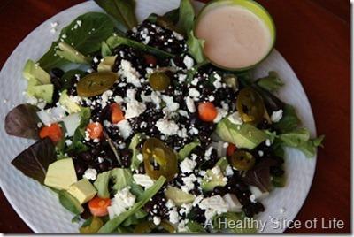 mixed greens black beans