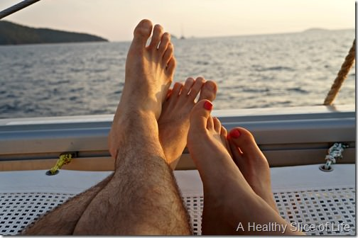 BVI sailing- toes