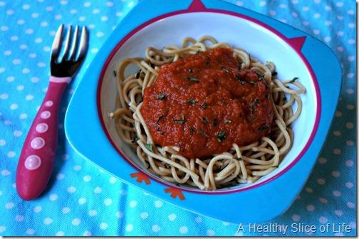 carrot puree-toddler spaghetti