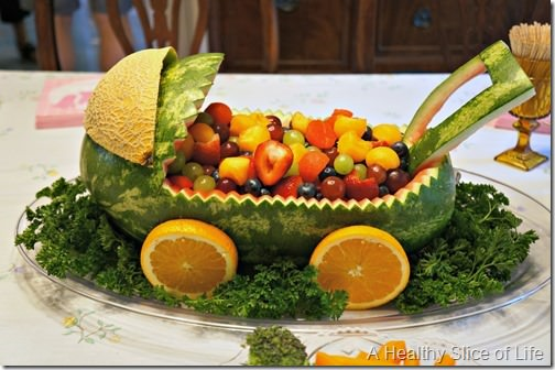maya's baby shower- fruit centerpiece