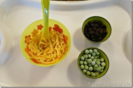 munchkin meals- odd toddler combos- frozen blueberries