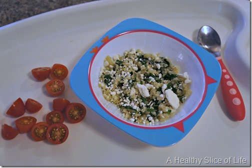 munchkin meals- odd toddler combos- quinoa and spinach