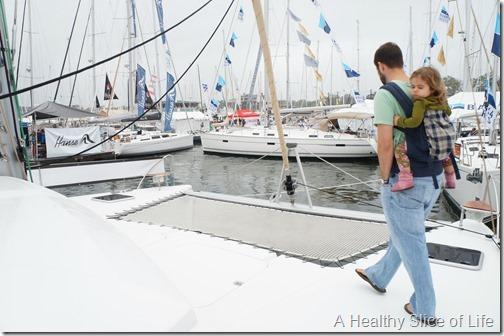 Annapolis boat show 2013- Fountaine Pajot Helia trampoline