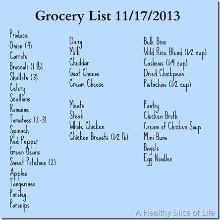 grocery list november 2013