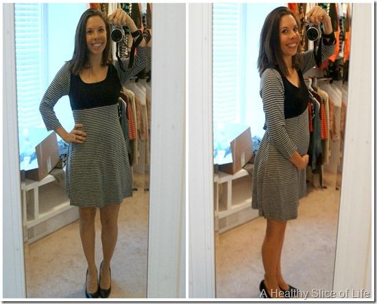 stitch fix maternity fashion- black and white sweater dress