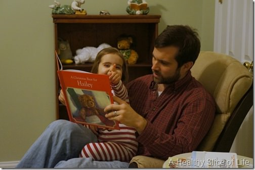 Christmas eve- reading with dad