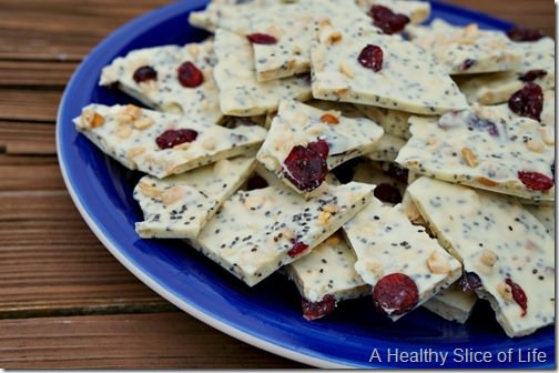 white chocolate and chia seed crunch- close up 2