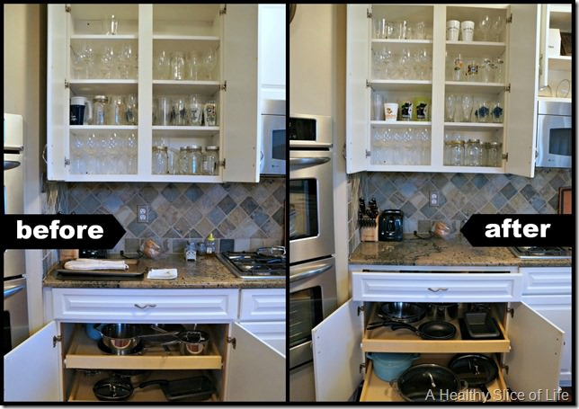 kitchen organization- cabinet 1 before and after