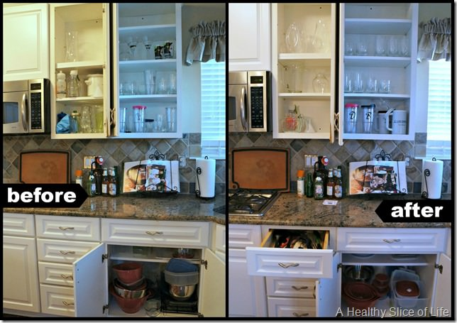 kitchen organization- cabinet 2 before and after