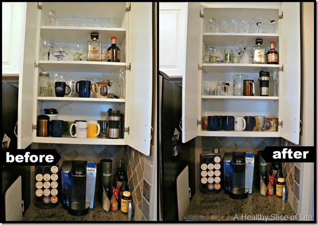 kitchen organization- cabinet 3 before and after