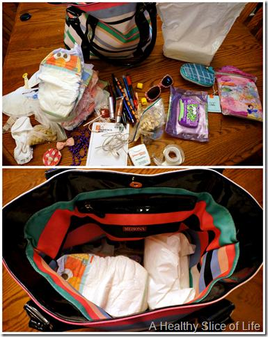 organization challenge day 2- diaper bag before & after