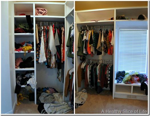 organization challenge day 3- master closet before