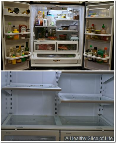 organization challenge day 4- fridge clean out before