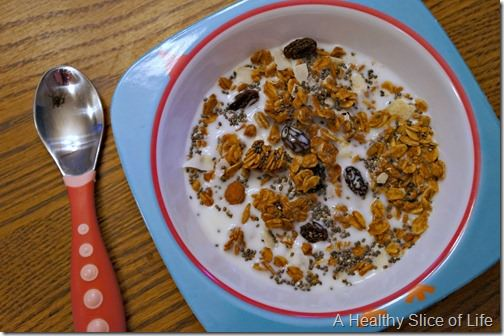 toddler meal prep- chia and blueberry granola bowl