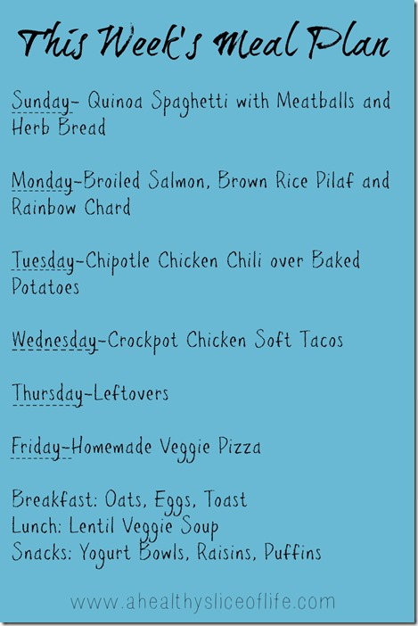 this week's meal plans