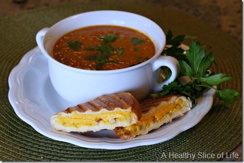 grilled cheddar and tomato soup