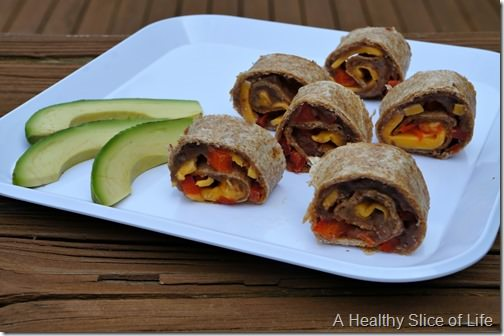 refried black bean, cheese and red pepper toddler wrap