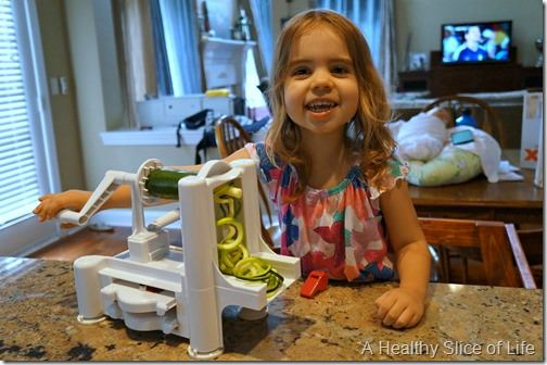 kids in the kitchen- spiralizer with supervision