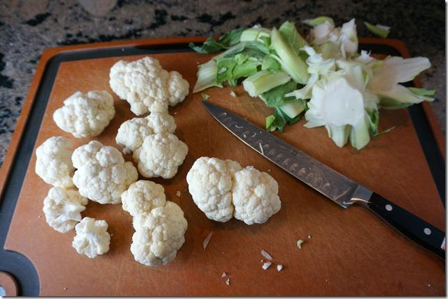 freezing cauliflower rice- florets