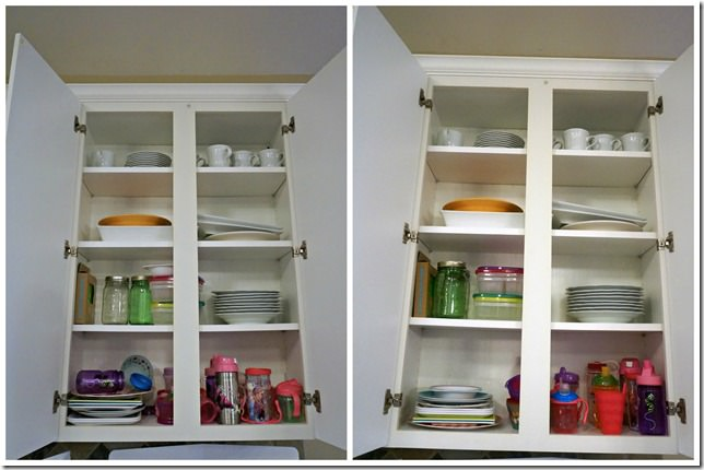 kitchen upper cabinets organization