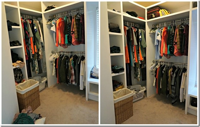 left side closet organization before and after