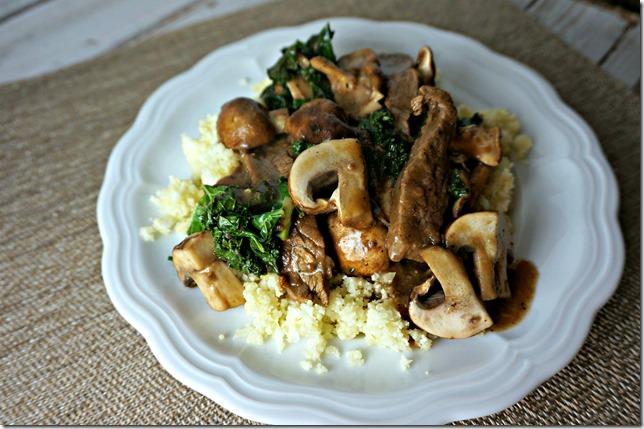 paleo challenge- stirfry over cauliflower rice