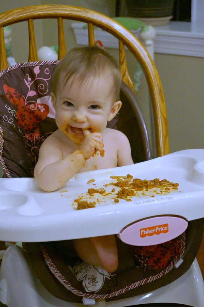 baby led weaning- 8 month meals - spaghetti