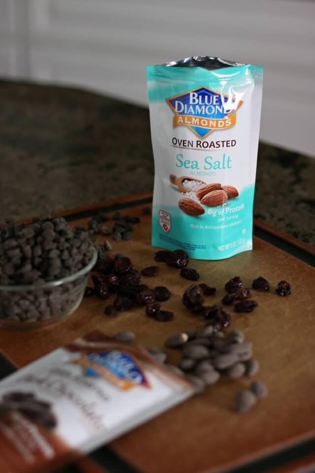 cherry almond dark chocolate bites- blue diamond roasted sea salt almonds
