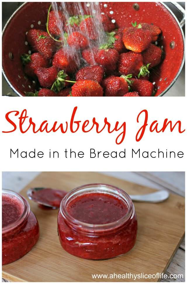 simple strawberry jam made in the bread machine with just 3 ingredients